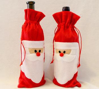 Декоративный новогодний мешок-чехол дед мороз для бутылки, для украшения стола, 1 штука