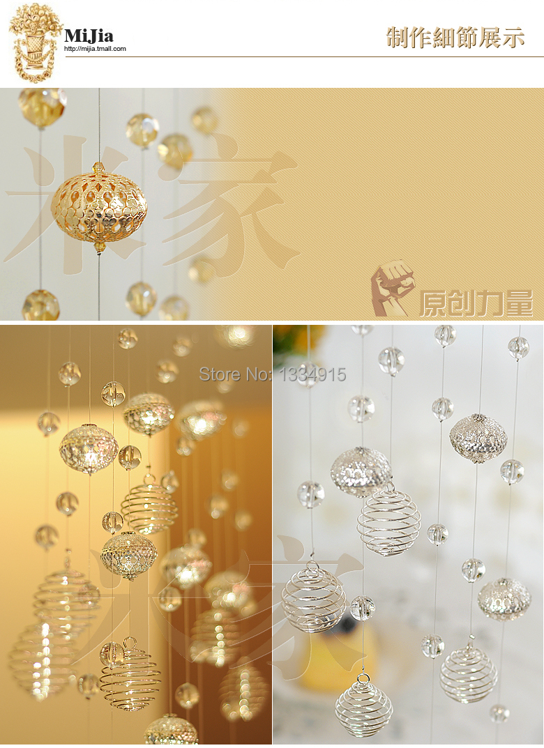 Bead curtain crystal partition curtain finished product crystal bead - Free Shipping Finished Product 60m Of Metal Crystal Bead Curtain Can Be Customized Crystal Curtain Porch