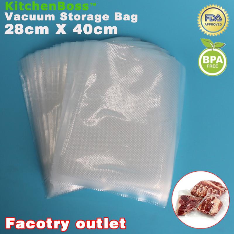 28cm x 40cm 50PCS PE Food Grade Membranes Vacuum Bags Film Roll Kitchen Vacuum Food Sealer bag Keeps Fresh up to 6x Longer(China (Mainland))