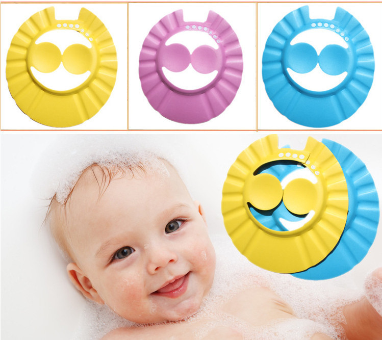 free shipping new hot adjustable convenient Baby Child Kids ear Shampoo Bath Shower Cap Hat Wash Hair wholesale pink blue yellow(China (Mainland))