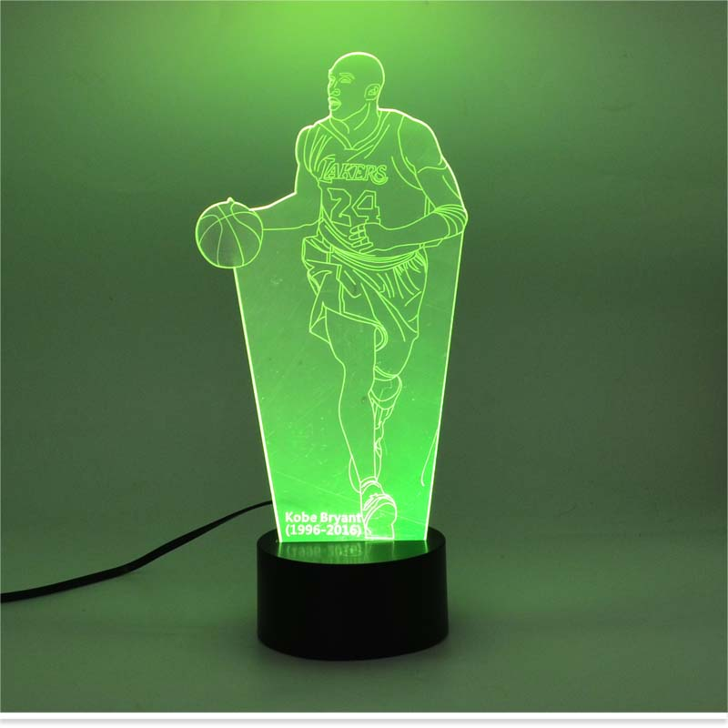 3D Lamp Led Night Lamp USB Changing Seven Color Mood Lamp For Holiday Lamp Special Modelling Kobe Byrant Shape Fancy Lamp(China (Mainland))