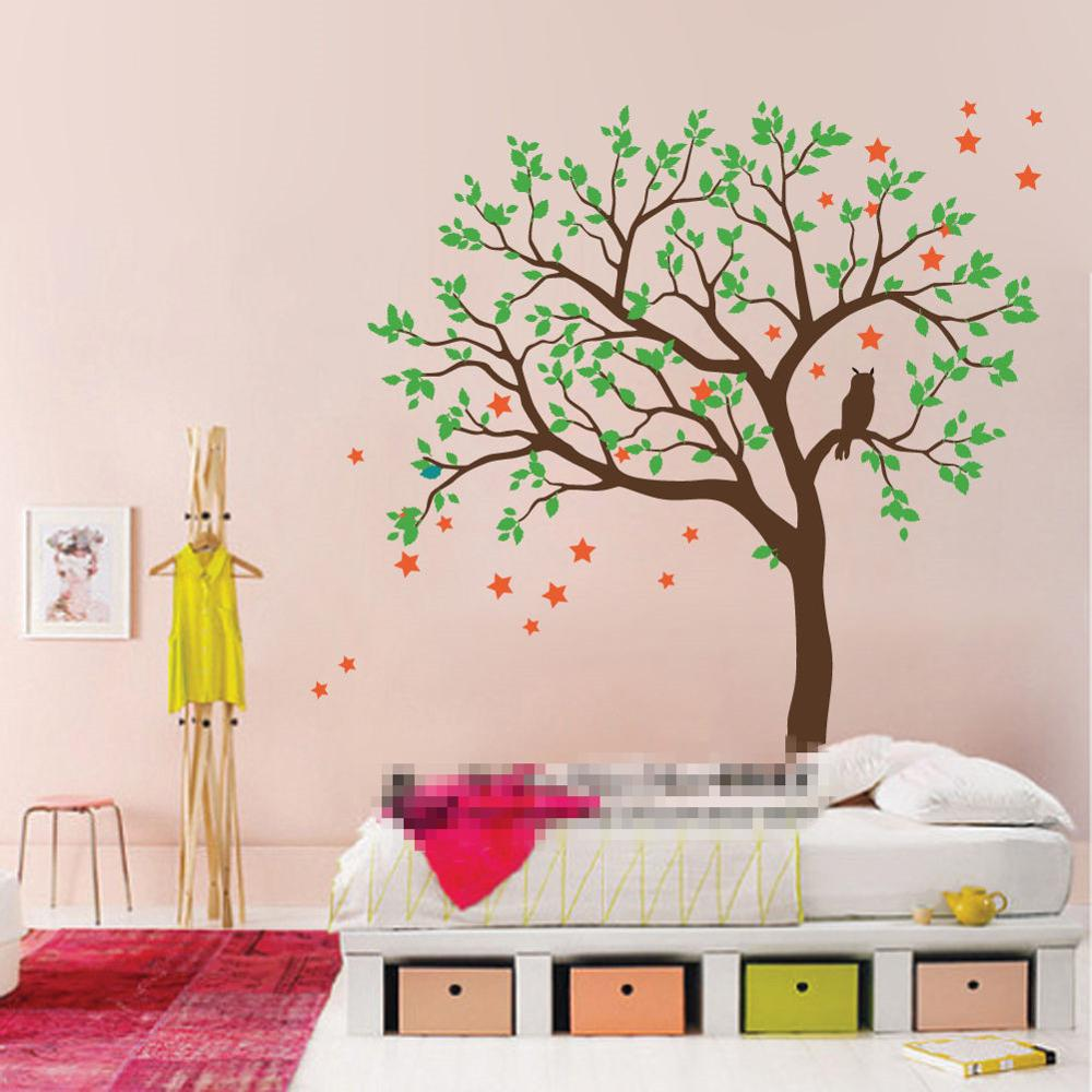 DIY large size Owl Hoot Star Tree Nursery Wall Stickers Removable Tree Wall Decals Wall Mural Nursery Vinyls Children's Vinilos(China (Mainland))