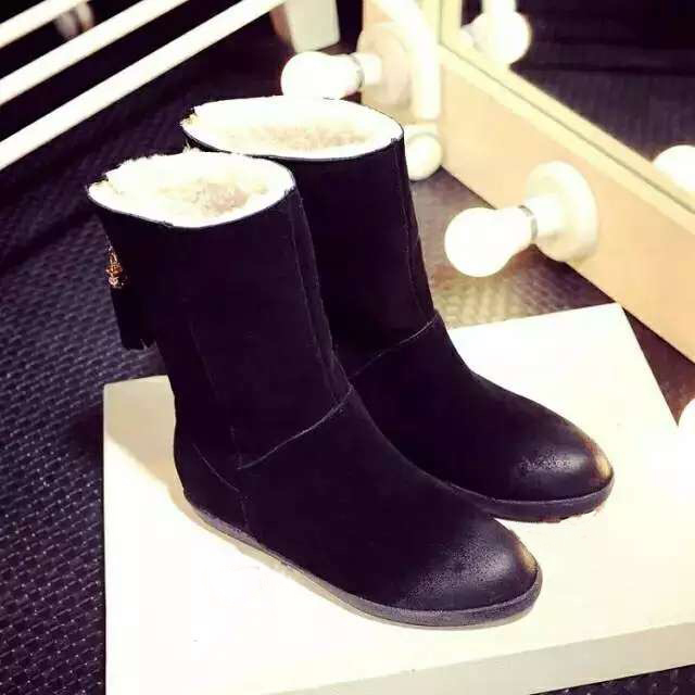 Top Brand Women Winter Boots Warm Shoes Natural Sheepskin Snow Wool Mid Calf Designer Size 35-40 - Fashion Flower store
