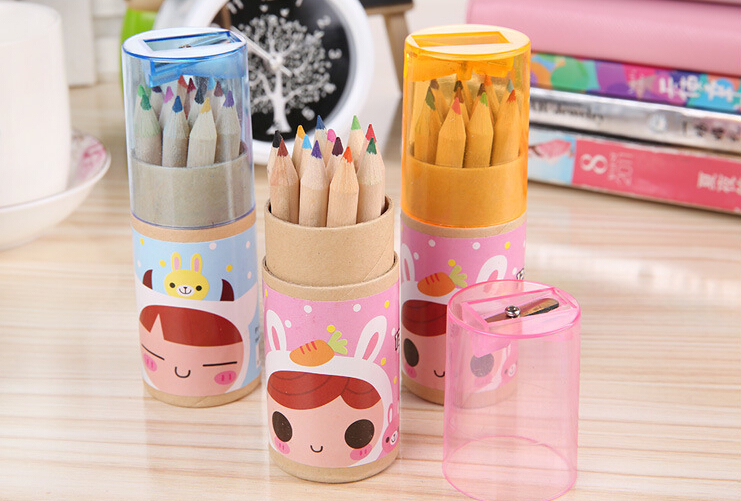 Cartoon girl Mini Bear colored pencils with sharpener school supplies suit wooden picture drawing pens children gift 12/Barrel
