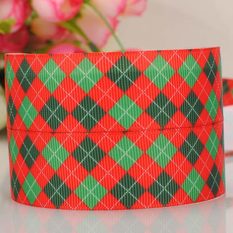 "ruban 1"" Christmas grid tape cartoon Printed Grosgrain satin softball Ribbon DIY wedding handmade fabric hair accessories 714-44(China (Mainland))"