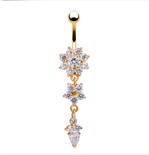High Quality 18K Gold Plated Medical steel Dangle Flower AAA Crystal CZ Navel Bell Button Rings Sexy Piercing Navel Body Jewelry