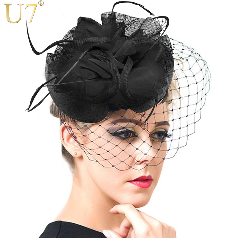 U7 European Style Veil Feather Women Hair Accessories Fascinator Hat Cocktail Party Wedding Headpiece Court Headwear Lady F302(China (Mainland))