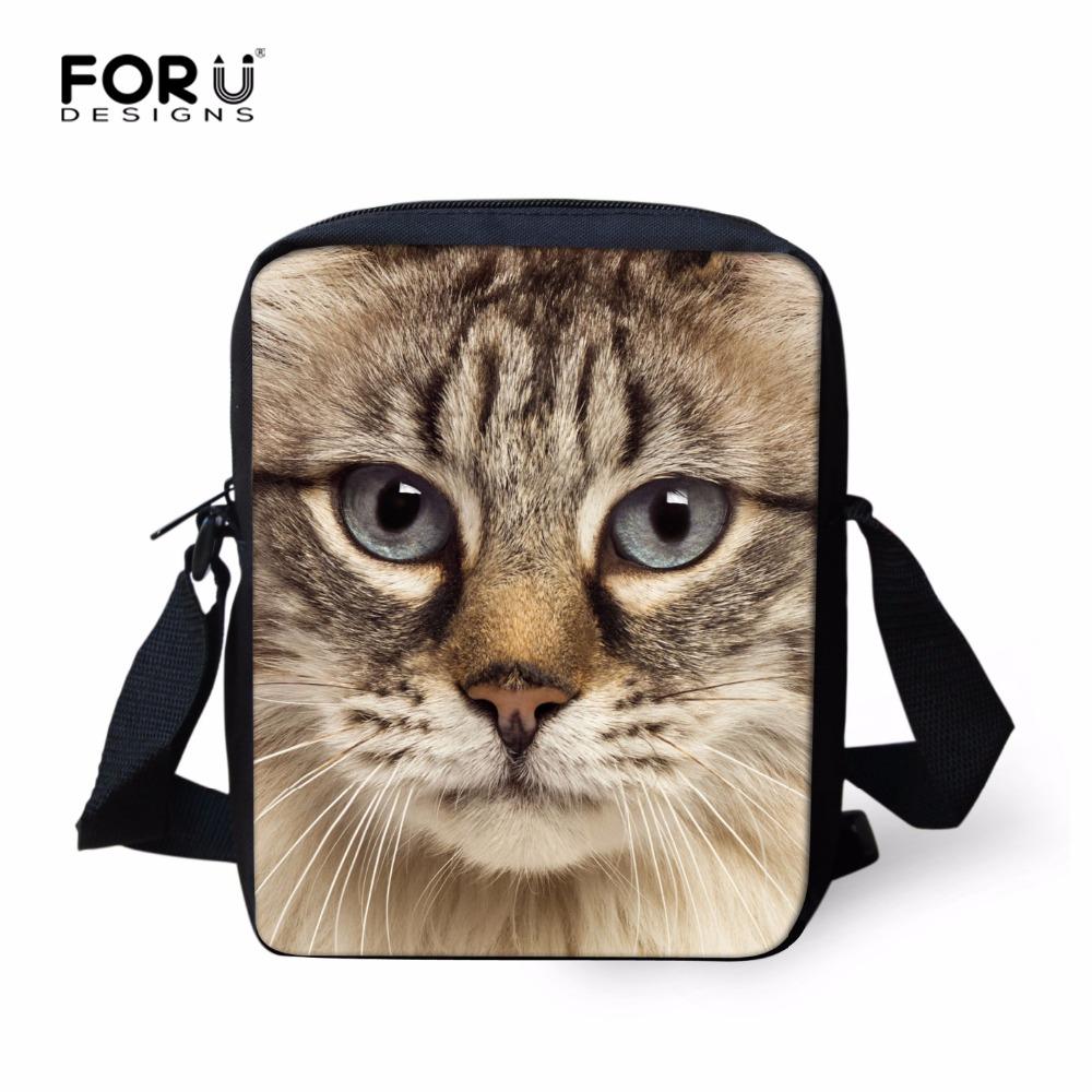 2016 Cute Cat Messenger Bags for Women Kawaii Zoo Printing Kids Crossbody Bags Children Outdoor Travel Bag Handbag Bimba Bags(China (Mainland))