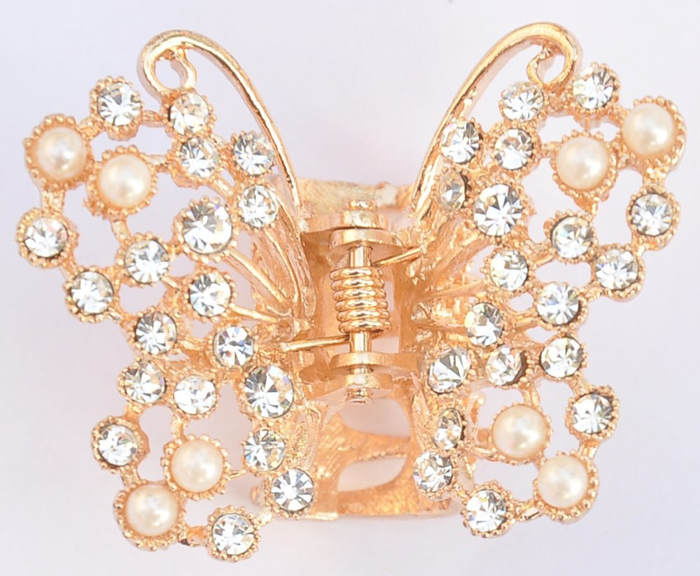 Korean style Butterfly design Gold Diamante Hair Claw Clip Grip Rhinestone Crystal Bridal Party Prom NEW - LinJie Jewelry Factory&Trading company store