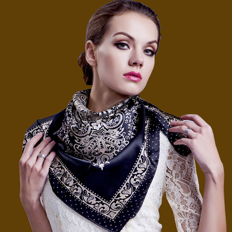 (18 colors) new fashion 100%silk scarf for women Big Size 90*90cm bandana Square Scarves High Quality shawls scarves for ladies(China (Mainland))