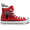 Wen Hand Painted Red Canvas Shoes Design Custom Spider Man Men Women s High Top Canvas
