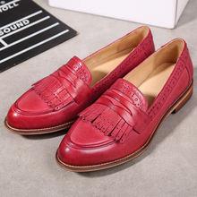Yinzo vrouwen Flats Oxford Schoenen Vrouw Echt Leer Sneakers Dames Brogues Vintage Casual Schoenen Schoenen Voor Vrouwen Schoenen(China)