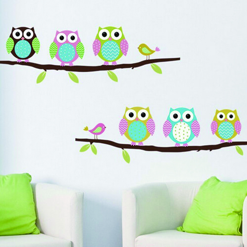 Diy baby room cartoon wall decal animal mural art owl wall for Baby mural stickers
