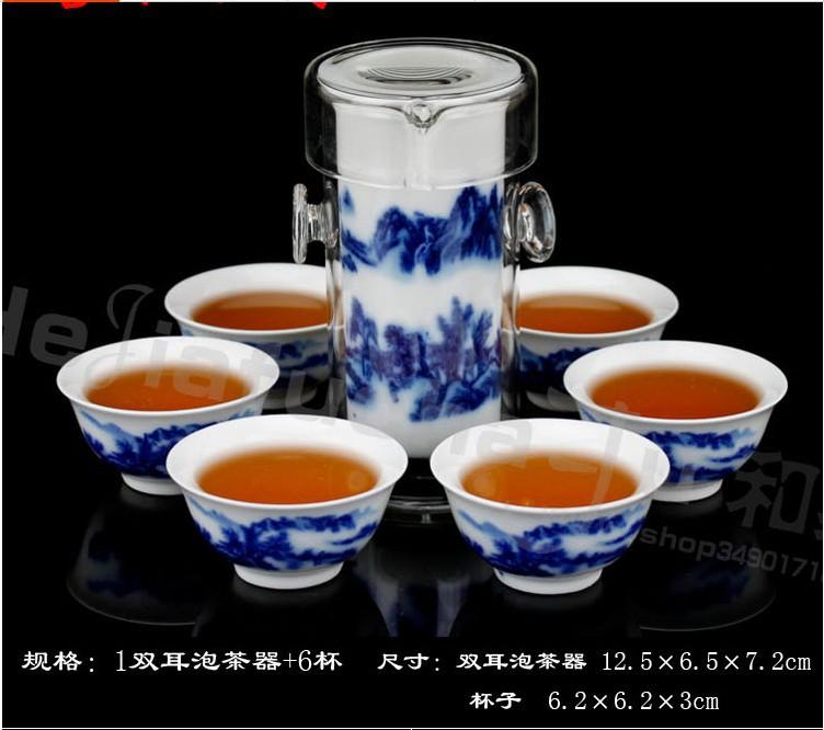 Ceramic kung fu tea blue and white porcelain glass tea set tea device black tea set