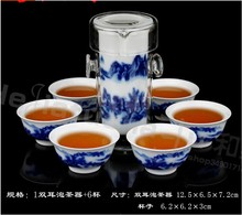 Ceramic kung fu tea blue and white porcelain glass tea set tea device black tea set