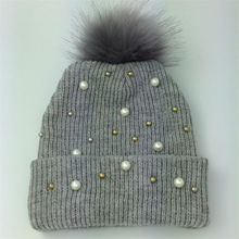 2015 New Pearl Rivet New High Grade Rabbit Fur Ball Decorate Hats For Women Knitted Caps For Winter 4 COLOR