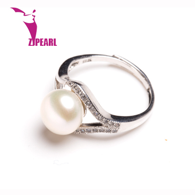 ZJPEARL Pearl Jewelry,Natural Freshwater Pearl rings, Round, AAAA, charm wedding rings for women,925 silver ring as gift(China (Mainland))