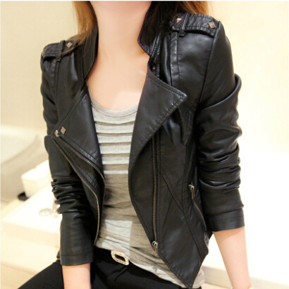 buy fashion punk pu leather jacket women. Black Bedroom Furniture Sets. Home Design Ideas