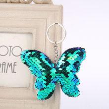 RE lindo llavero de mariposa purpurina pompón lentejuelas llavero regalos para mujeres llaveros encanto bolso de coche colgante joyería J35(China)