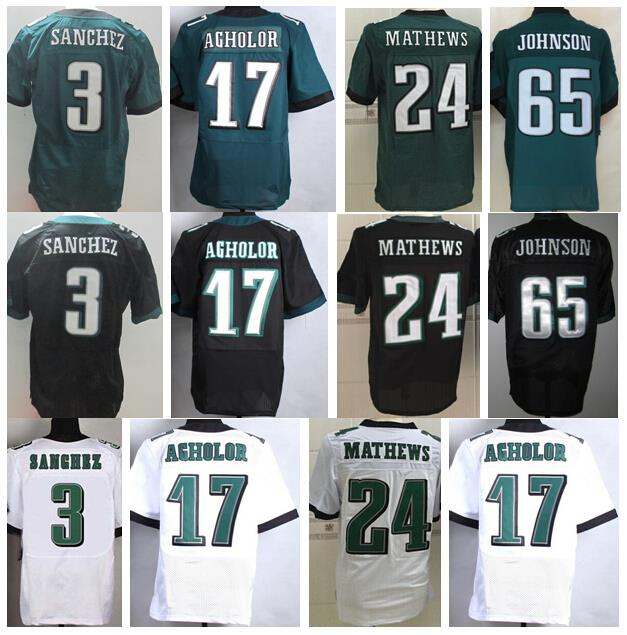 Philadelphia 24 Ryan Mathews Jersey American 3 Mark Sanchez Football Jerseys Green Black White 17 Nelson Agholor 65 Lane Johnson(China (Mainland))