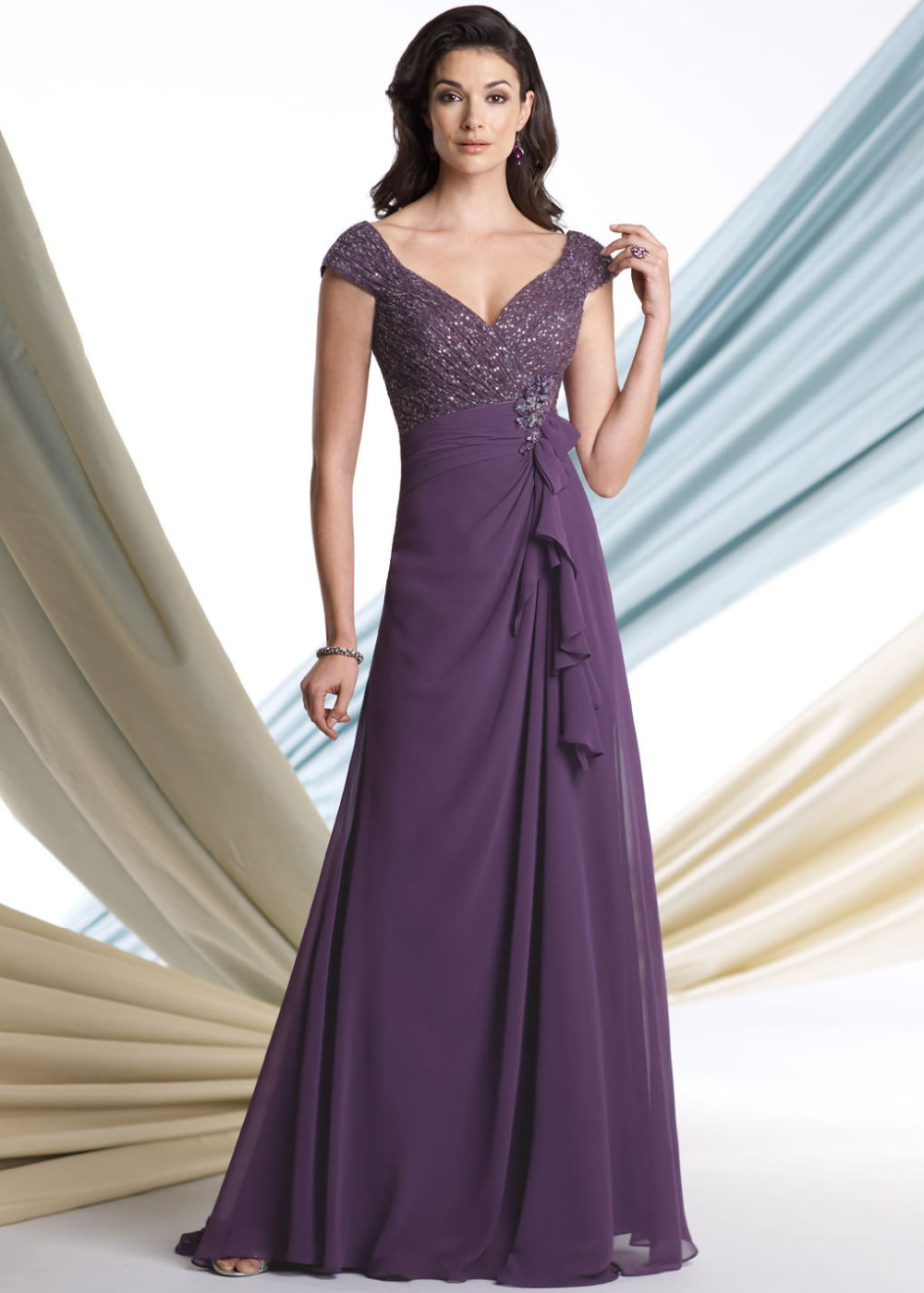 Fashion mother of the bride dress sexy a line v neck for Formal wedding dresses for mother of the bride