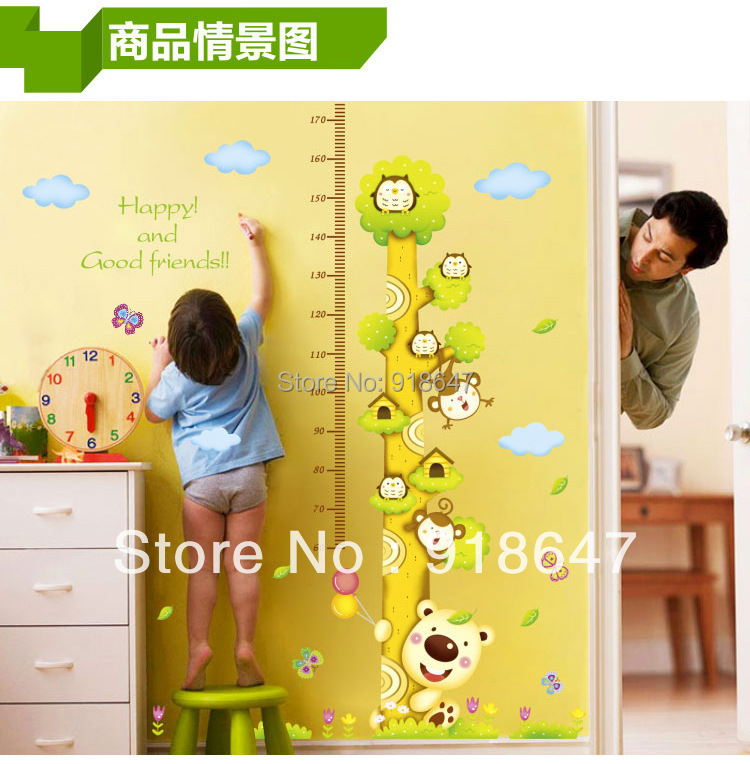 New Products Big Size 180x170cm Tree and Animal Height Measure Wall Decal Home Decals Nursery measuring growth for kids gift(China (Mainland))