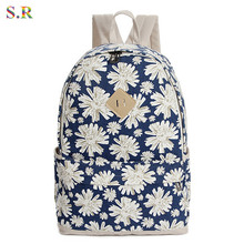 New Fashion 2016 Women Backpack Female Canvas Floral Printing Backpacks Preppy School Shoulder Bags For Girls Mochila CB143(China (Mainland))
