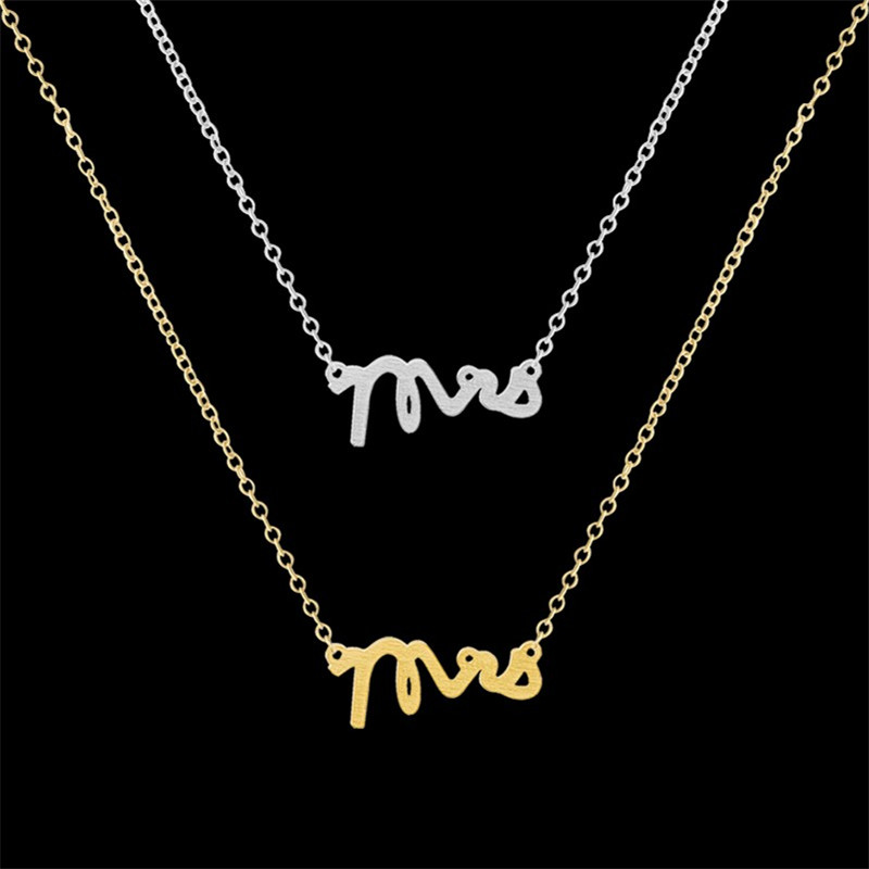 1-2016 Vintage Party Gift Collier Silver Gold Plated Choker Minimalist Jewelry Unique Dainty Mrs Letter Necklace Femme - Show store
