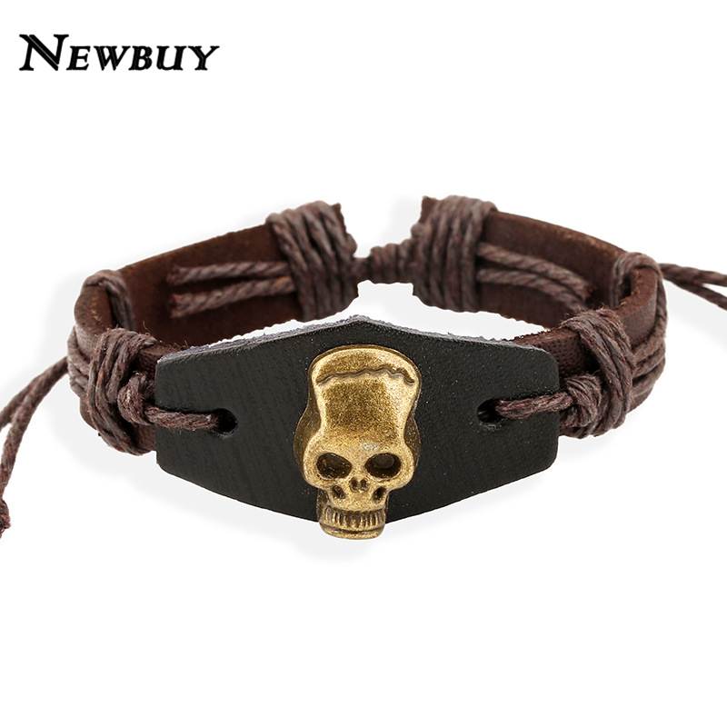 2016 New Fashion Genuine Leather Charm Bracelets For Women Men Vintage Skeleton Braided Bracelets Bangles Wholesale(China (Mainland))