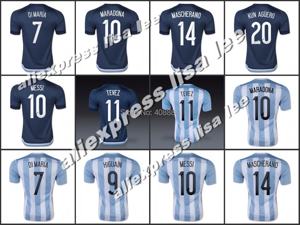 Best Thai Quality 2016 Argentina home away football soccer jersey shirt MESSI MARADONA DI MARIA BATISTUTA 1516 Argentina jerseys(China (Mainland))