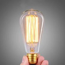 ST64 Antique Retro Vintage E27 60W 220V Edison Light Bulb Incandescent Light Squirrel-cage Led Filament Bulb(China (Mainland))