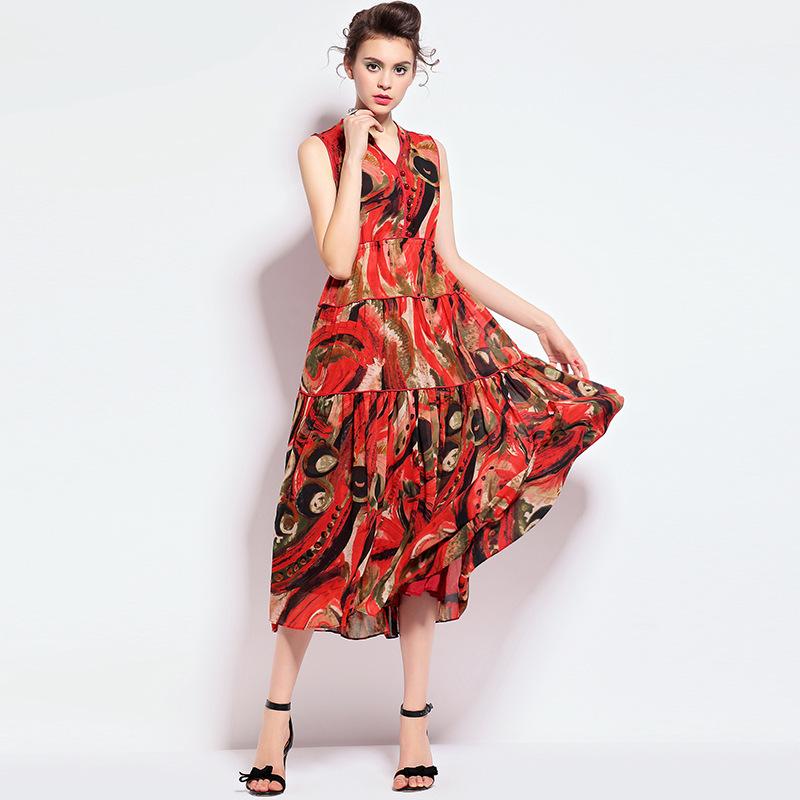 summer style 2015 new women's temperament printing waist Slim sleeveless chiffon dress Q151910 - LADY SARA'S FASHION STORE store