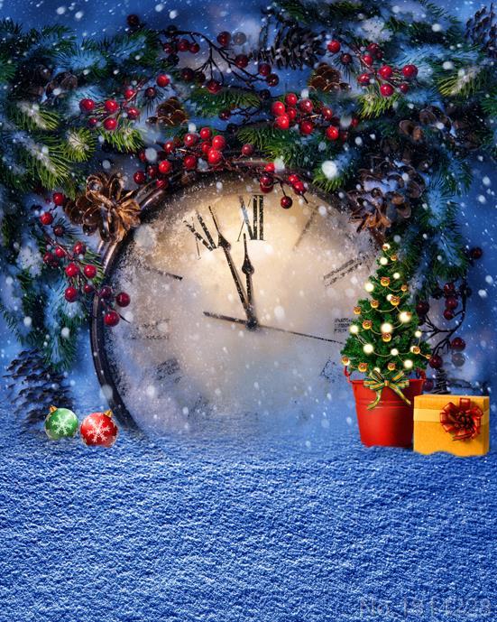 studio, Latar belakang menyesuaikan pohon natal salju jam taman latar ...