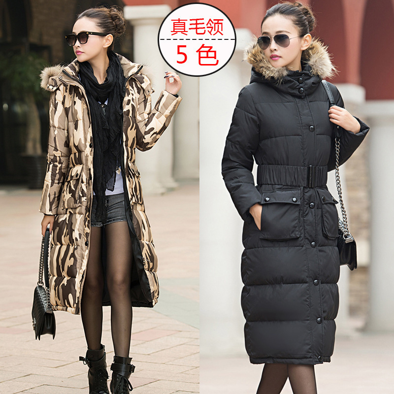 2014 New winter Women Parka Korean Slim fitting military jacket fur collar belt, WInter Coat, Long Style, L-3XL! - Kuta Co., Ltd. store
