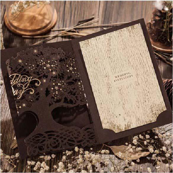 50pcs Brown Wedding Party Loving Tree Wedding Invitations Cards Laser Cut 2015 Convite De Casamento Free Printing Card Invites(China (Mainland))