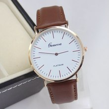 2015 New Arrival Men Watch High end Geneva Genuine Leather Casual Watch Super Thin Platinum Analog