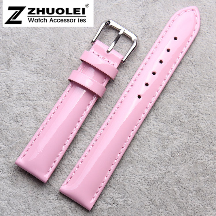 12mm 14mm 16mm 18mm 20mm New High Quality Women Pink Genuine Leather Watch Band Strap Bracelet Depolyment Steel Clasp