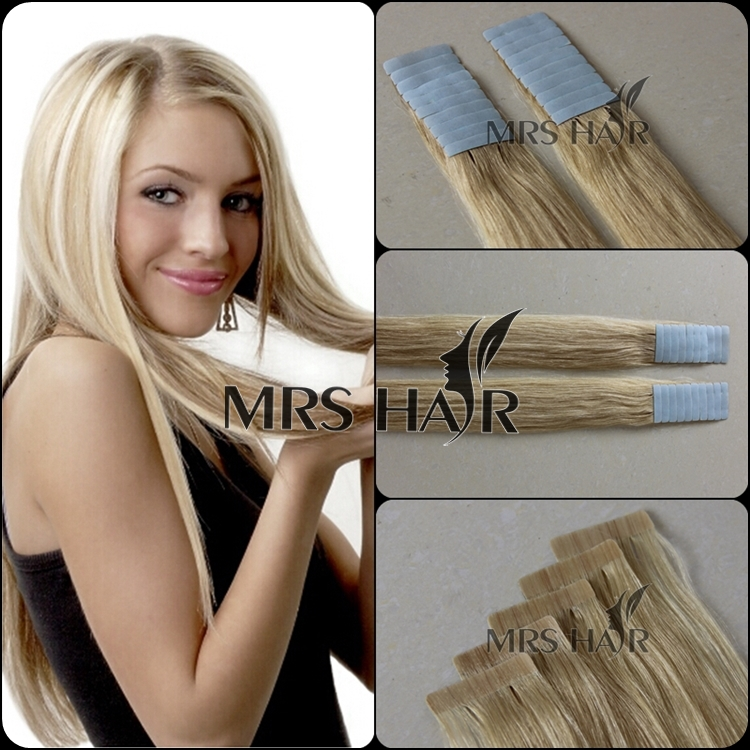 """Cheap dark blonde 24# 18"""" 20"""" 22"""" 20pcs tape remy human brazilian thick skin weft colorful hair extensions products Promotion(China (Mainland))"""