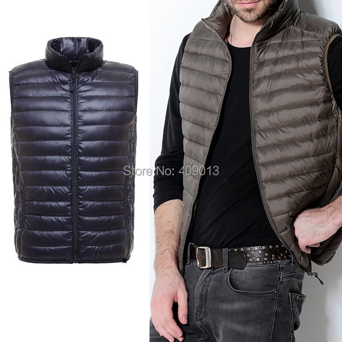 2014 fashion vest men unltra light sleeveless jacket winter casual white duck stand collar - VICSEE International Apparel Ltd store