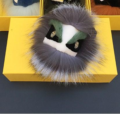 Trendy Real Fur Pom Poms Bag Bug Little Monster Bag Charm Keychain Keyrings Luxury Car Jewelry embellishment Pendant of Fox furs(China (Mainland))
