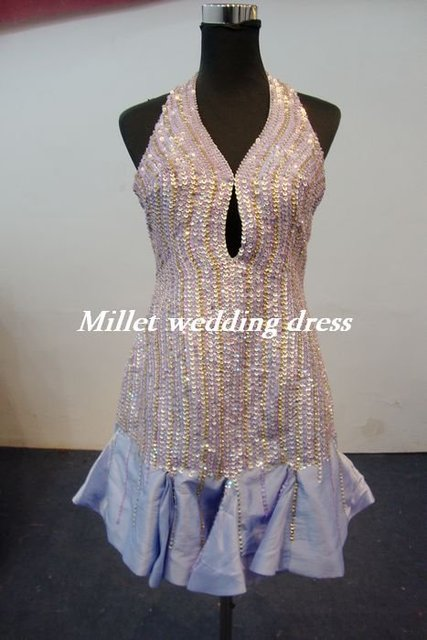 2012 new hanging on my hollow out more than a cleavage article paillette proxy evening dress