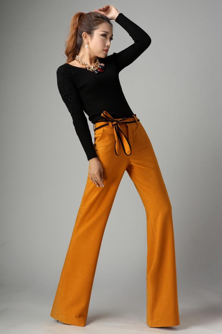 2016 Women Flare Pants Wide Leg Long Trousers Office Lady OL Slim Flared Pants Business Women Elegant Autumn Winter Pants