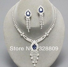 2013 amazing silver plated Blue water drop crystal bridal jewelry sets - Own factory made (Mini Order $10 store)