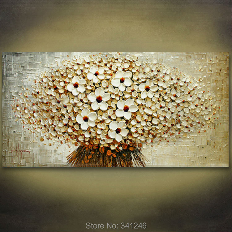 100% Hand-painted modern home decor wall art picture bunch beige flowers thick paint palette knife oil painting canvas - Modern Home Decorative Oil Painting store