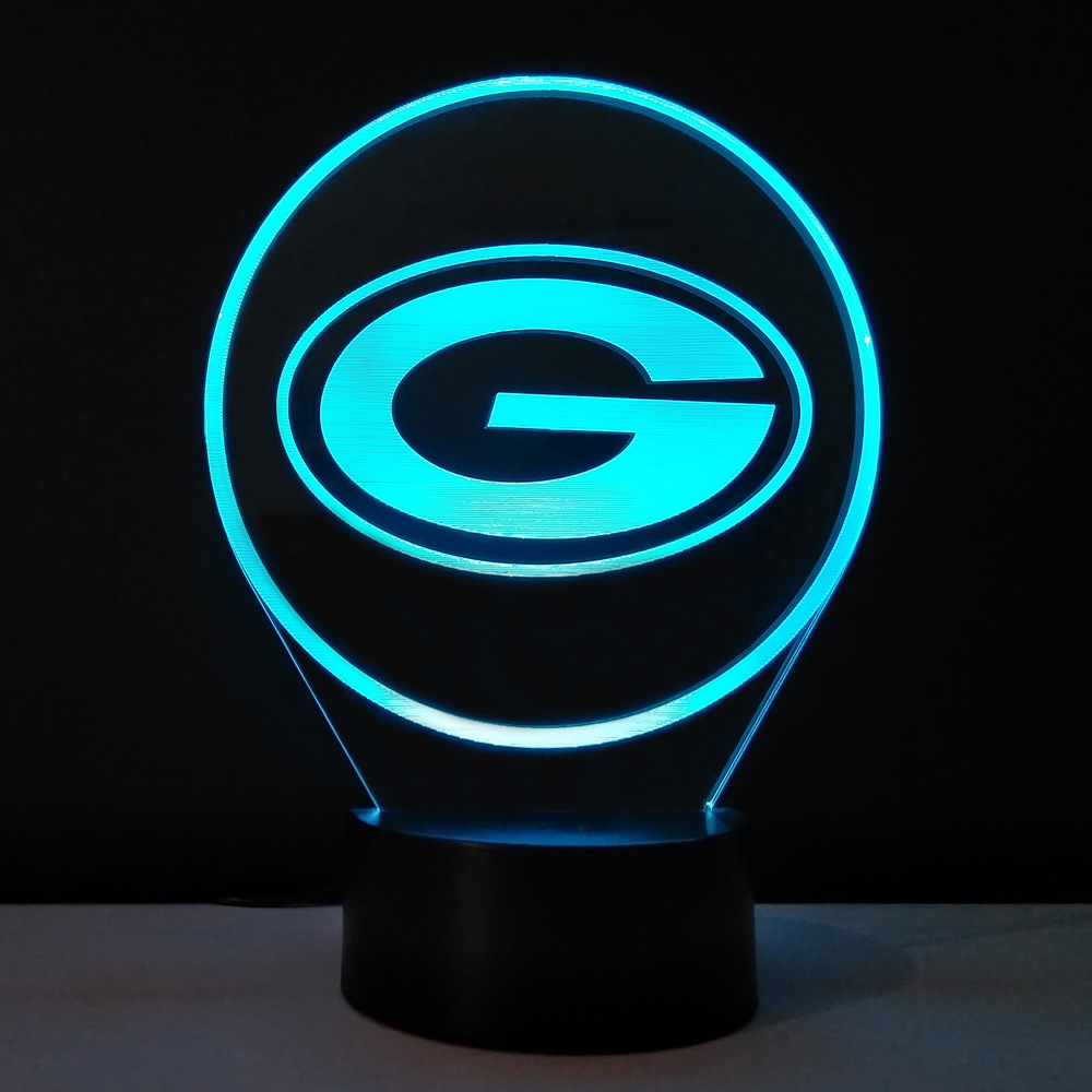 3D Glow Night Light Green Bay Packers NFL Team Logo Lampe de table Creative Gadget Mini usb Led Lights Lampade Kida Kiddie Gift(China (Mainland))