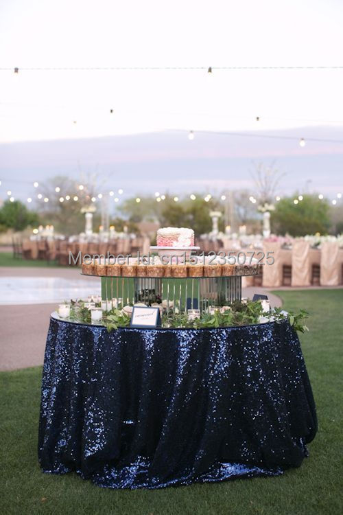Beautiful Navy Blue Sequin Table Cloth/Overlay/Cover/Linen 132'' Round/Rectangle Customed Sizes Table Linens(China (Mainland))