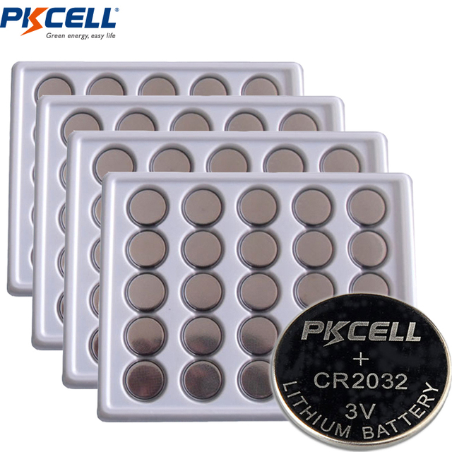 100 x PKCELL Battery CR2032 3V Lithium Button Batteries BR2032 DL2032 ECR2032 KL2032 15004L L14 SB-T51 Button Battery for Watch