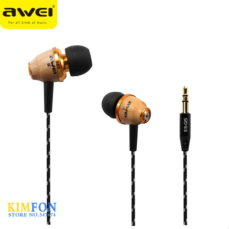 (wholesale) 50pcs Original AWEI Q5 Super Bass Wooden In-Ear Headphones Earphones Headset For Mobile Phone MP3/4 3.5mm Jack(China (Mainland))