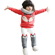 Autumn winter Baby Girls Clothing set Lovely Children's Clothing 2PCS Thick Long Sleeve Fox Tops + Pant Sets(China (Mainland))
