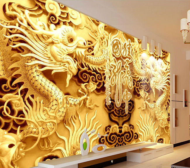 3d woodcut wallpaper golden double dragon photo wallpaper for Chinese wallpaper mural